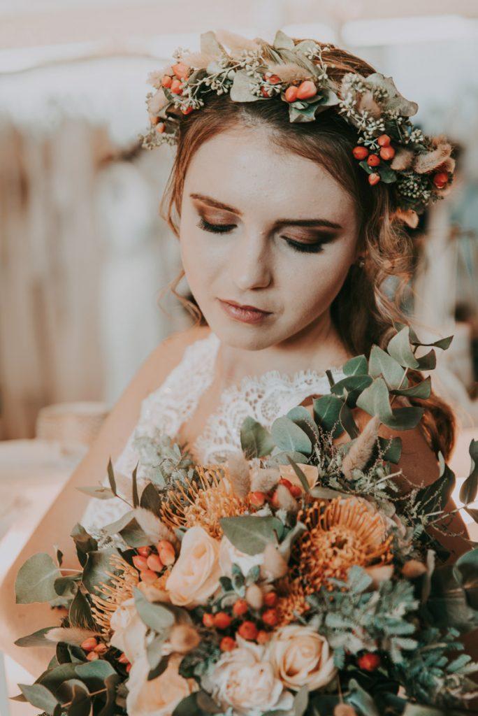 Farbkonzept eines Brautstrauß mit Orange & Gelb